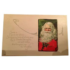 1920  Christmas Postcard with a Santa Claus Portrait on the Front