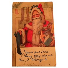 Century Old Santa Claus Filling Christmas Stockings Identifier Postcard