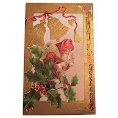 Century Old  Unused Gilt Embossed Christmas Postcard with Santa Claus