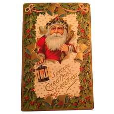 1911  Christmas Postcard with A Santa Claus Holding a Lantern