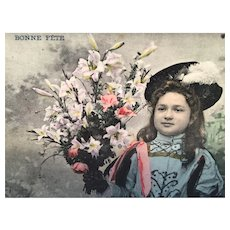1908 'Happy Birthday Flowers' Edwardian Hand-Tinted French Postcard