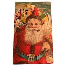 Century Old Christmas Postcard with a Pipe Smoking  Santa Claus