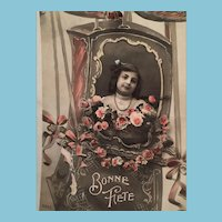 1909 'Happy Birthday' Edwardian Hand-Tinted French Postcard