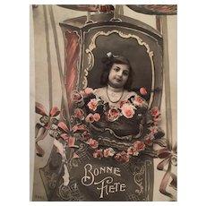1909 'Happy Birthday' Edwardian Hand-Tinted French Postcard