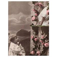 Circa 1908 'Pierrot' Edwardian Hand-Tinted French Postcard