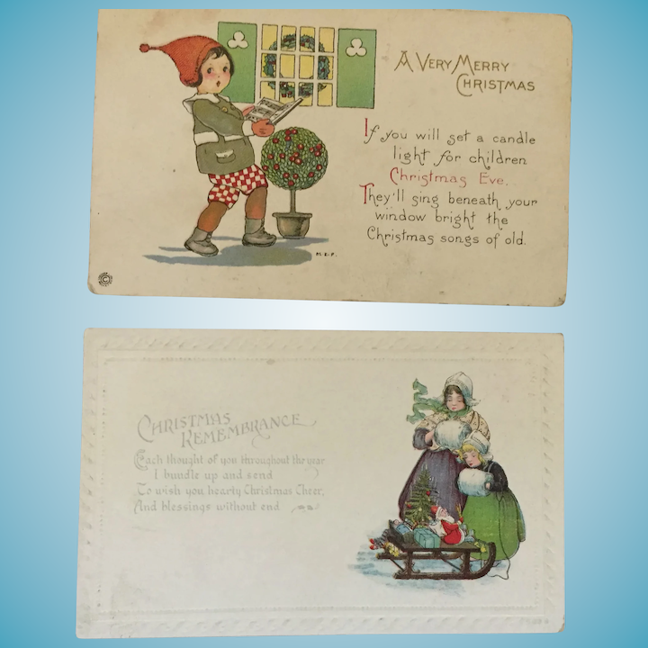 Old Christmas Carols.Two Lovely Century Old Christmas Postcards