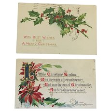 Two Lovely Century Old Christmas Postcards