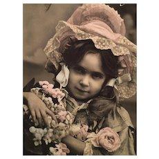 Circa 1908 'My Posies' Edwardian Hand-Tinted French Postcard