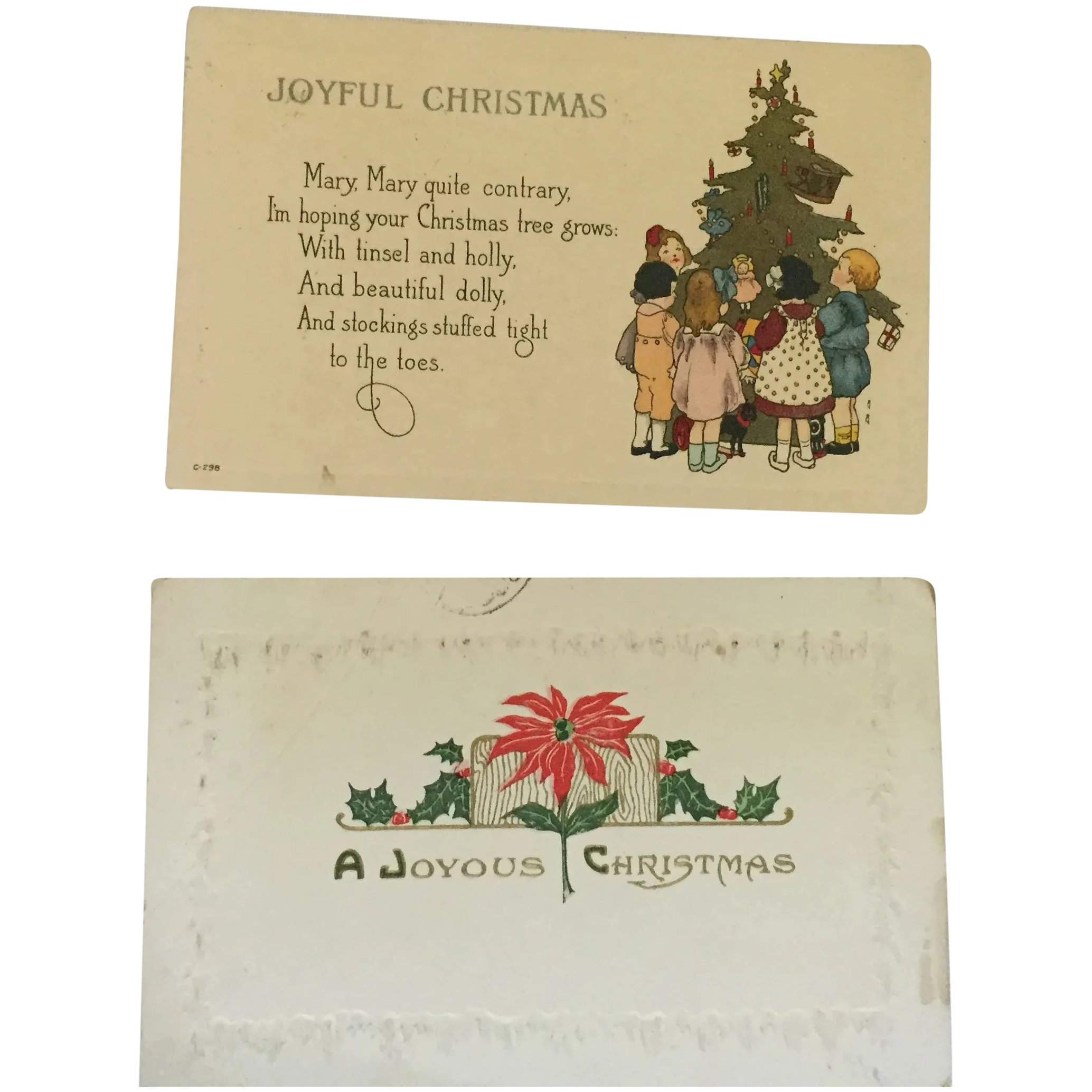 Christmas Postcards.Two Lovely Century Old Christmas Postcards