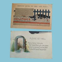 Circa 1925 Pair of Sweet Stamped Post Marked 'Get Well' Postcards
