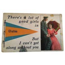Circa 1915 'Ohaton' Romantic Couple Postcard