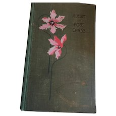 1920s Green Linen Postcard Album Embossed with Pink Flowers