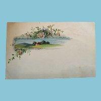 Circa 1920s Romantic Countryside and Daisies Unused Postcard