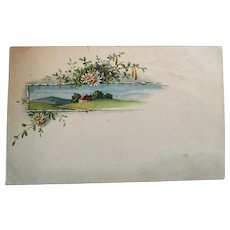 Circa 1920s Romantic Countryside and Daisies Unused Postcard