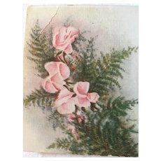 Circa 1920s Unused Flower and Fern Birthday Postcard