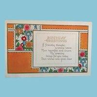 Circa 1920s Unused Flowers and Flourishes Birthday Greeting Postcard