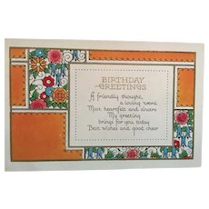 Circa 1920s Unused Flowers and Flourishes Birthday Greeting Postcard