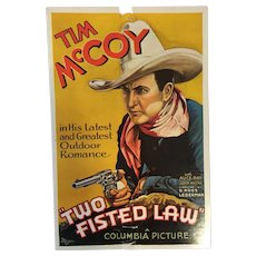 Unused Movie Poster Postcard of Tim McCoy in 'Two Fisted Law'