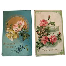 Circa 1910s Group of Two Sweet Floral Greeting Postcards