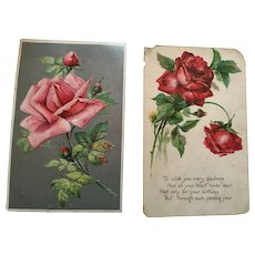 Circa 1910s Group of Two Sweet Rose Greeting Postcards