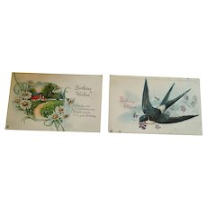 Circa 1920s Group of Two Sweet Birthday Greeting Postcards
