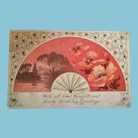 1918 Stamped and Postmarked Birthday Greeting Designer Postcard