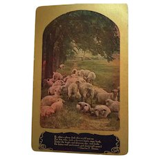 Early 1920s Stamped and Postmarked Sheep Greeting Postcard