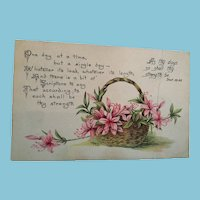 Circa 1925 Signed and Postmarked Flower Basket 'Get Well' postcard Marked MMS
