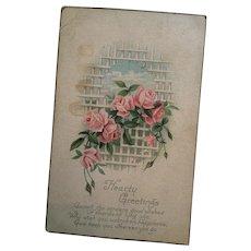 Circa 1920s 'Heartfelt Greetings' Romantic Postcard