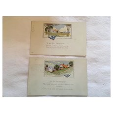Circa 1925 Pair of Sweet Stamped and Postmarked 'Get Well' Postcards