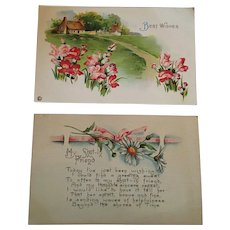 Circa 1925 Pair of Sweet 'Get Well' Stamped and Post Marked Postcards.