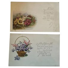 Circa 1925 Pair of Sweet 'Get Well' Postcards