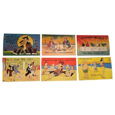Six Delightful Unused Comic Greeting Postcards from the 1940's