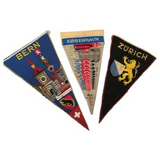 Three 1940s-50s Souvenir Embroidered Cloth Pennants - Bern, Kobenhavn, Zurich