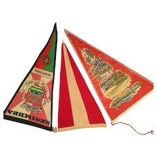 Three 1940s-50s Souvenir Pennants from Zurich, Portugal, and Red and White Burgee
