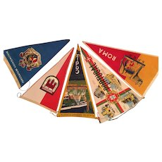 Five 1940s-50s Souvenir Cloth Pennants - Osterreich, Liechenstein, Roma, Cadiz, Portugal