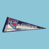 Vintage NHL Souvenir Pennant for the New York Rangers Hockey Team