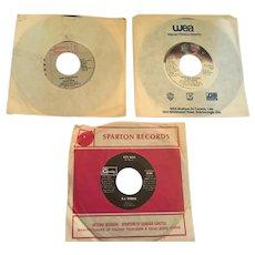 Three 70s-80s 45 RPM Vinyl Records by Pointer Sisters, Stevie Nicks, and B.J. Thomas