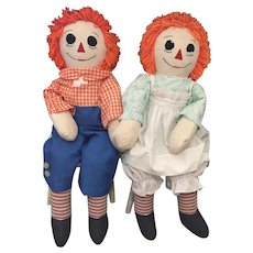"""Pair of 34"""" Tall Handmade Vintage Raggedy Ann and Andy Dolls"""