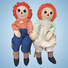 "Pair of 34"" Tall Handmade Vintage Raggedy Ann and Andy Dolls"