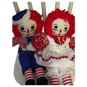 "Pair of 14"" Handmade Vintage Raggedy Ann and Andy Dolls"