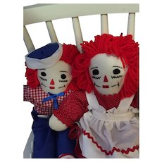 """Pair of 14"""" Handmade Vintage Raggedy Ann and Andy Dolls"""