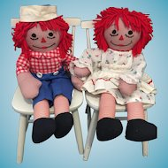 """Pair of 24"""" Tall Handmade Vintage Raggedy Ann and Andy Dolls"""