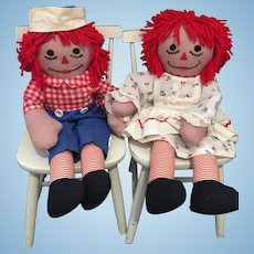"Pair of 24"" Tall Handmade Vintage Raggedy Ann and Andy Dolls"