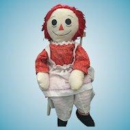 "Large 36"" Tall Handmade Vintage Raggedy Ann Doll"