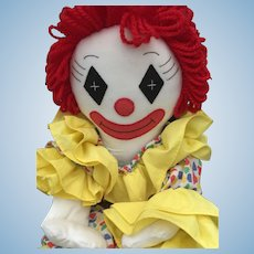 Colorful Vintage Artist-Made Raggedy Clown Doll