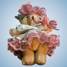 "Fancy 6"" Plush Girlie Bear dressed in Dusty Rose Outfit"