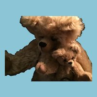 "Artist Made 13 1/2"" Honey Colored Momma Bear and Her Small 6"" Baby (Pair)"