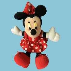 "Vintage 8"" Soft Body Plush Minnie Mouse in Red and White Polka Dots"