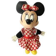 "Vintage 14"" Soft Body Minnie Mouse with a Rubber Head"